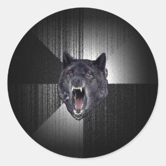 Insanity Wolf Meme Funny Memes Black Wolf Round Sticker