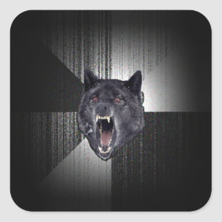 Insanity Wolf Meme Funny Memes Black Wolf Square Sticker