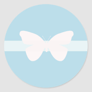 Insect Butterfly Pink on Blue Band Round Sticker