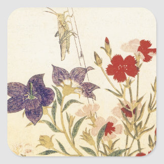Insects and Flowers by Utamaro Square Sticker