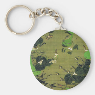 Insects by Pond Side by Ito Jakuchu Basic Round Button Key Ring