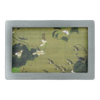 Insects by Pond Side by Ito Jakuchu Rectangular Belt Buckles