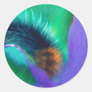 Insects - Caterpillar munching Iris Round Sticker