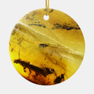 Insects inside amber round ceramic decoration