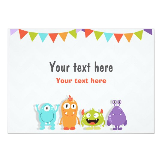 Insert card Little Monster Table sign Birthday