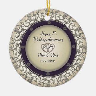 Insert Years Wedding Anniversary Round Ceramic Decoration