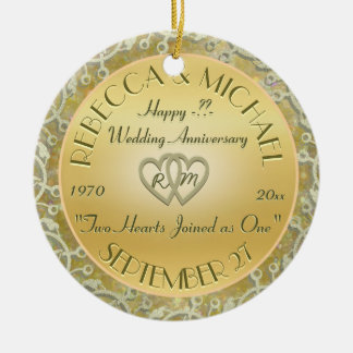 Insert Years Wedding Gold Wedding Anniversary Christmas Ornament