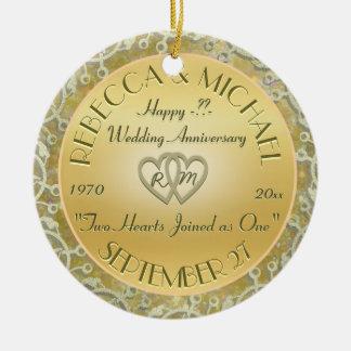 Insert Years Wedding Gold Wedding Anniversary Round Ceramic Decoration