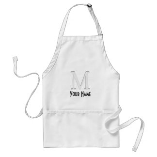 Inset Monogrammed Letter M Aprons
