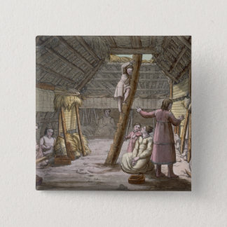 Inside a house in Alaska (colour engraving) 15 Cm Square Badge