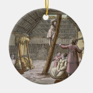 Inside a house in Alaska (colour engraving) Christmas Ornament