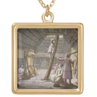 Inside a house in Alaska (colour engraving) Gold Plated Necklace