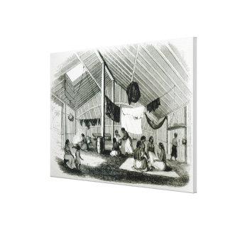Inside a Tahitan Hut Canvas Print