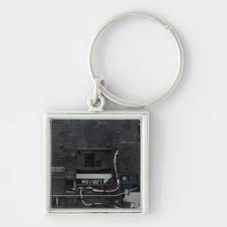 Inside electronic machine Silver-Colored square key ring