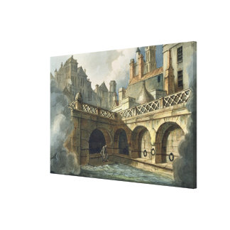 Inside of Queen's Bath, from 'Bath Illustrated by Canvas Print