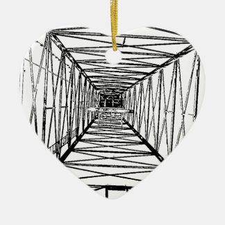 Inside Oil Drill Rig Sketch Ceramic Heart Decoration