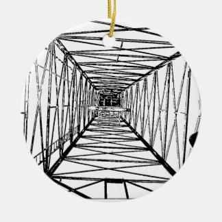 Inside Oil Drill Rig Sketch Round Ceramic Decoration