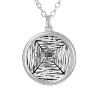 Inside Oil Drill Rig Sketch Round Pendant Necklace
