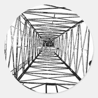 Inside Oil Drill Rig Sketch Round Sticker
