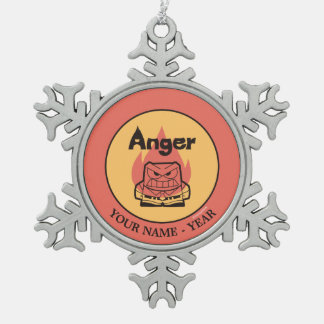 Inside Out | Anger With Flame Add Your Name Pewter Snowflake Decoration