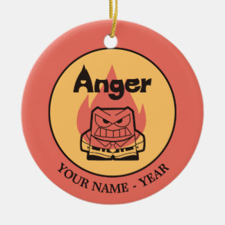 Inside Out   Anger With Flame Add Your Name Round Ceramic Decoration