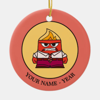 Inside Out   Angry Face Add Your Name Round Ceramic Decoration
