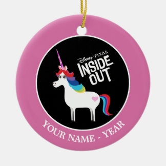 Inside Out   Rainbow Unicorn Add Your Name Round Ceramic Decoration
