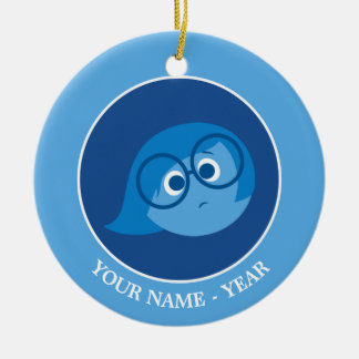 Inside Out   Sadness Face Add Your Name Round Ceramic Decoration