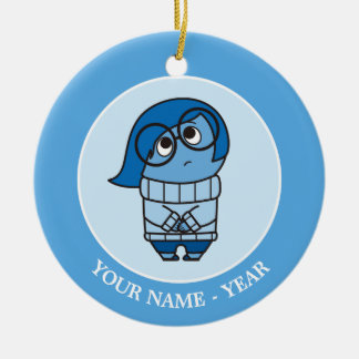 Inside Out   Sadness Sigh Add Your Name Round Ceramic Decoration