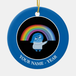 Inside Out | Sadness With Rainbow Add Your Name Round Ceramic Decoration