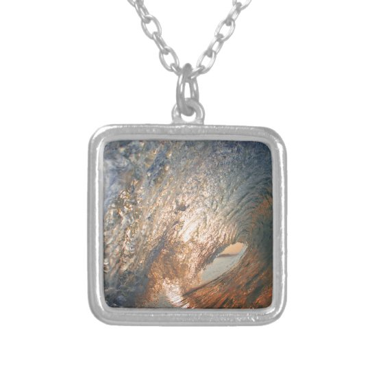 Inside the tube surfing wave silver plated necklace