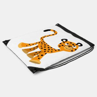 Insouciant Cartoon Cheetah Drawstring Backpack