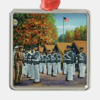 Inspection in Camp, Soldiers in Formation Silver-Colored Square Decoration