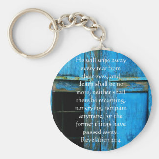 Inspiration and Strength Bible Verse Revelation 21 Basic Round Button Key Ring