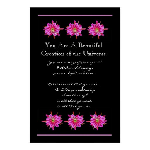 Inspiration Beautiful Pink Flowers Poster