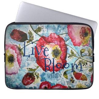 Inspiration Floral Watercolor Art Laptop Sleeve