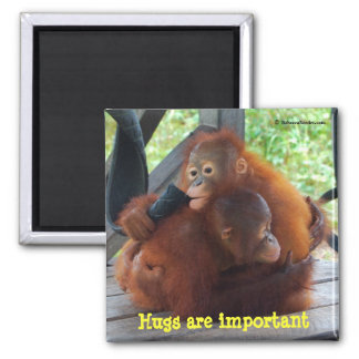 Inspiration from Babies: Hugs Are Important Square Magnet
