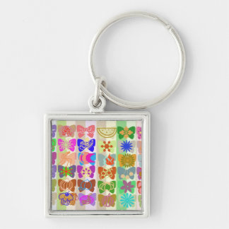 Inspiration from Colorful Lives of Butterflies Silver-Colored Square Key Ring