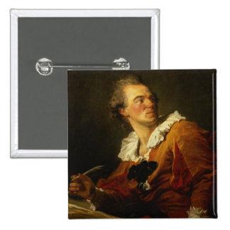 Inspiration (oil on canvas) 15 cm square badge