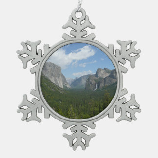 Inspiration Point in Yosemite National Park Snowflake Pewter Christmas Ornament