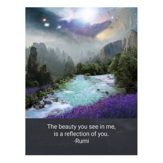 Inspiration Quotation on Beauty from Rumi Postcard