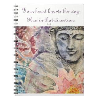 Inspiration Rumi Quote Buddha Art Spiral Notebook