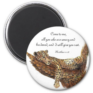 Inspiration Scripture, Watercolor Leopard Animal Magnet