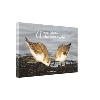 "Inspirational ""A Meal is Better ..."" Sanderlings Canvas Print"
