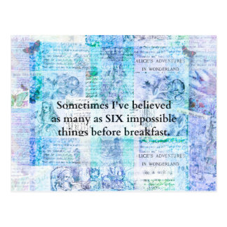 Inspirational Alice in Wonderland QUOTE Postcard