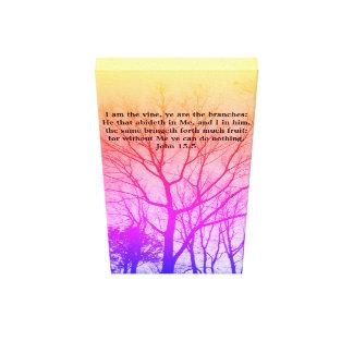 Inspirational Art with Bible Verse (John 15:5) Canvas Print