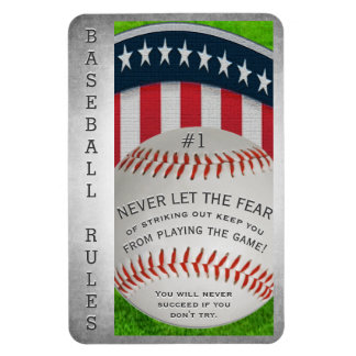 Inspirational Baseball Message Rectangular Photo Magnet