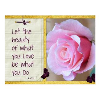 Inspirational Beauty Rumi Rose Postcard