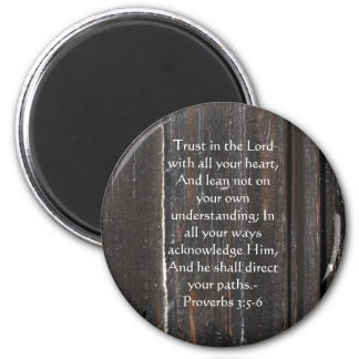 Inspirational Bible Quote Proverbs 3:5-6 6 Cm Round Magnet