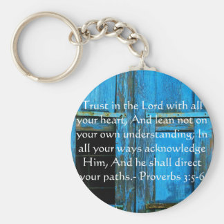 Inspirational Bible Quote Proverbs 3:5-6 Basic Round Button Key Ring
